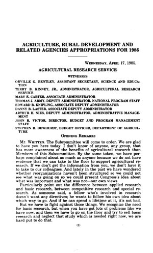 Agriculture  rural development  and related agencies appropriations for 1986