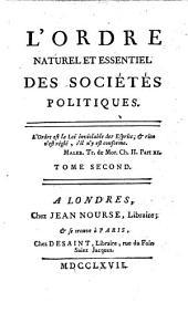 L' ordre naturel et essentiel des sociétés politiques: 2