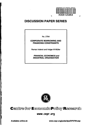 Corporate Borrowing and Financing Constraints PDF