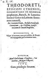Commentarii in Jeremiam, Baruch et lamentationes e graeco in latinum sermonem conversi per Joannem Picum