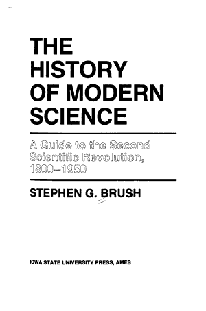 The History of Modern Science