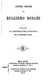 Lettere critiche: Perché la letteratura italiana non sia popolare in Italia