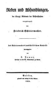 Reden und Abhandlungen der Königl. Akademie der Wissenschaften