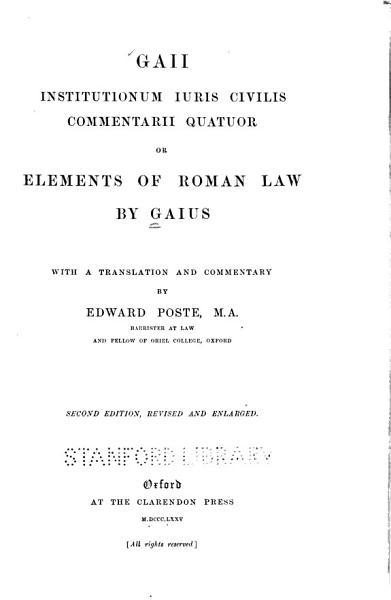 Download Gaii Institutionum Iuris Civilis Commentarii Quattuor Book
