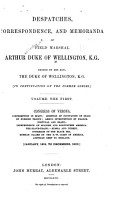 Despatches  Correspondence  and Memoranda of Field Marshal Arthur  Duke of Wellington  K  G   1819 1822 PDF