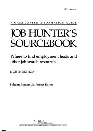 Job Hunter s Sourcebook PDF