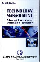 TECHNOLOGY MANAGEMENT  Advanced Strategy for Information Technology PDF