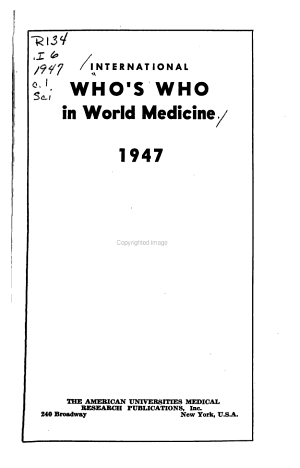 International Who s who in World Medicine