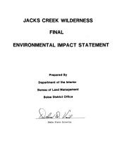 Jacks Creek wilderness: final environmental impact statement