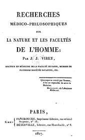 Recherches médico-philosophiques sur la nature et les facultés de l'homme