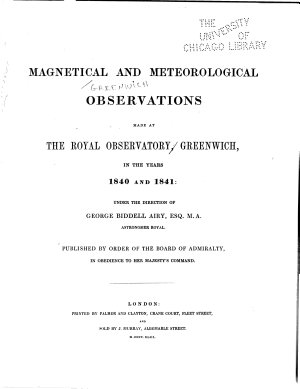 Observations Made in Astronomy  Magnetism and Meteorology PDF