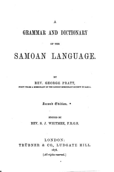 A Grammar and Dictionary of the Samoan Language PDF