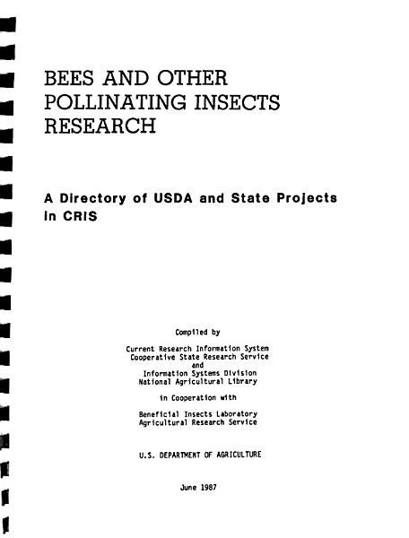 Bees and Other Pollinating Insects Research PDF