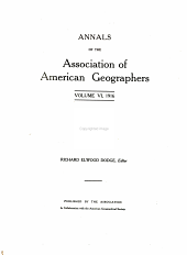 Annals of the Association of American Geographers: Volumes 6-7