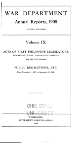 Acts of First- Philippine Legislature: Issues 1801-1878