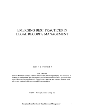 Emerging Best Practices in Legal Records Management