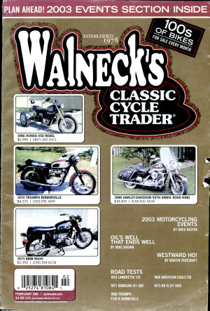 WALNECK S CLASSIC CYCLE TRADER  FEBRUARY 2003