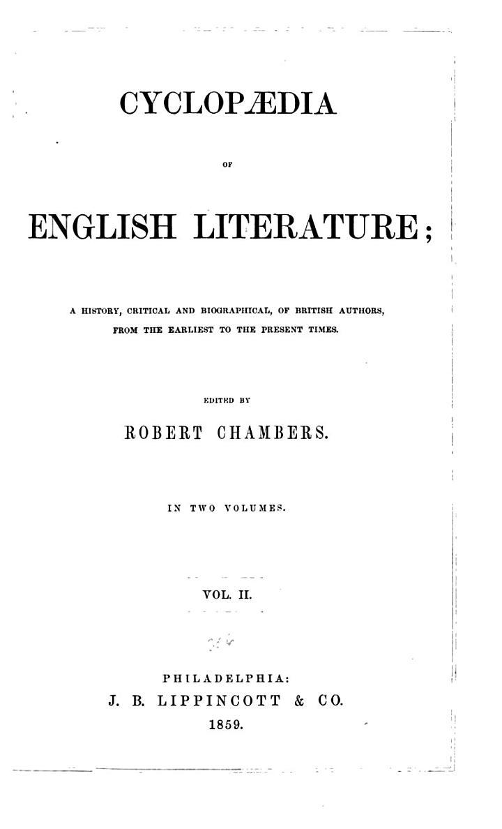 Chamber's Cyclopaedia of English Literature