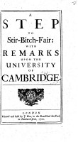 A Step to Stir Bitch Fair  with remarks upon the University of Cambridge   By E  Ward   PDF