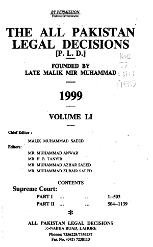 The All Pakistan Legal Decisions PDF