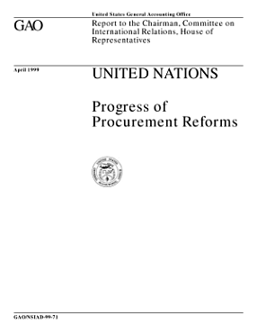 United Nations   progress of procurement reforms   report to the chairman  Committee on International Relations  House of Representatives PDF