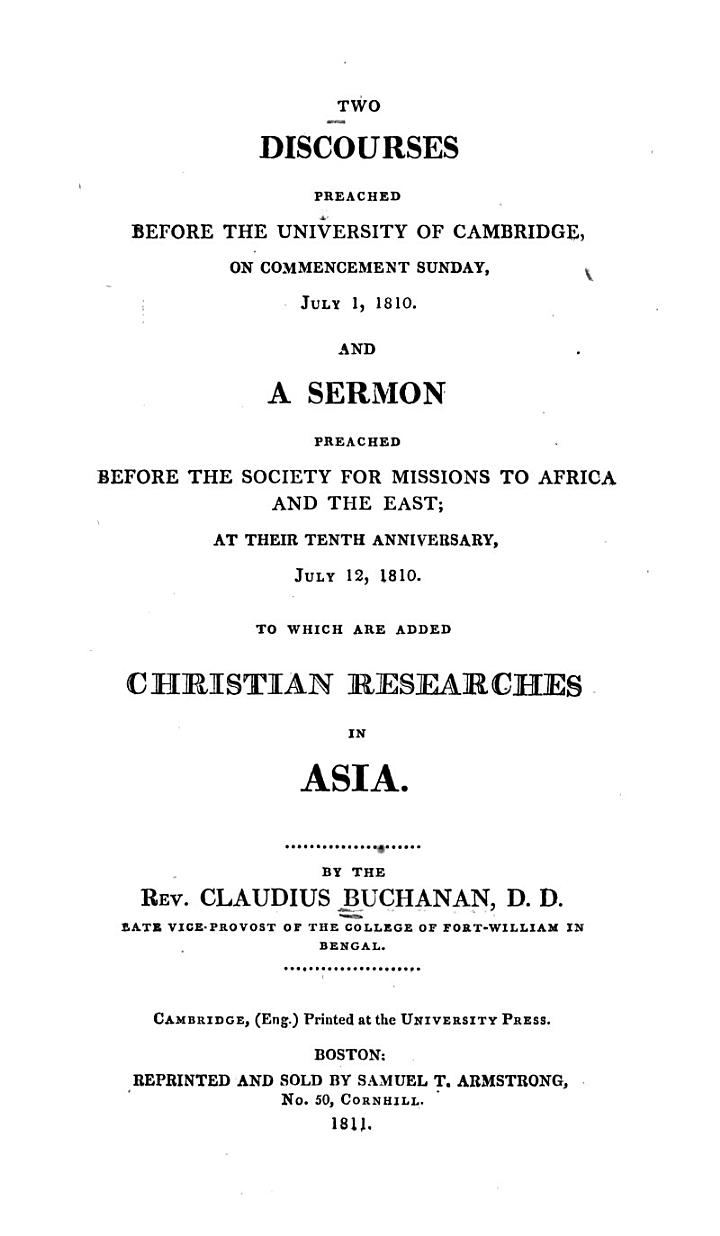 Two Discourses Preached Before the University of Cambridge, on Commencement Sunday, July 1, 1810