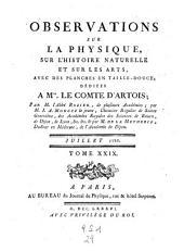 Observations et memoires sur la physique, sur l'histoire naturelle, et sur les arts et metiers: Volume29
