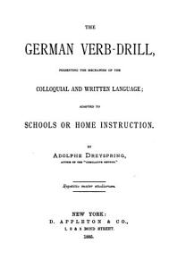 The German verb drill  presenting the mechanism of the colloquial and written language PDF