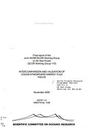 Final Report of the Joint WCRP/SCOR Working Group on Air-Sea Fluxes (SCOR Working Group 110)
