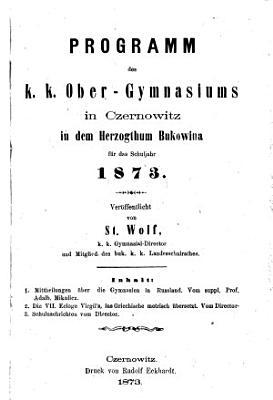 Jahres Bericht des k k  Ober Gymnasiums zu Czernowitz PDF
