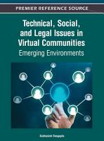 Technical  Social  and Legal Issues in Virtual Communities  Emerging Environments PDF