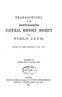 Transactions of the Hertfordshire Natural History Society and Field Club PDF