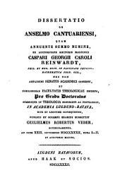 Dissertatio de Anselmo Cantuariensi: Volume 1