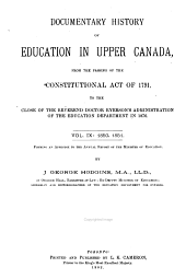 Documentary History of Education in Upper Canada: 1850-1851
