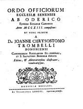 Ordo officiorum ecclesiae senensis