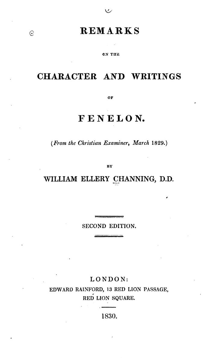 Remarks on the Character and Writings of Fenelon