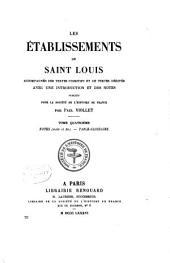 Les établissements de saint Louis: Notes (suite et fin) Table-glossaire