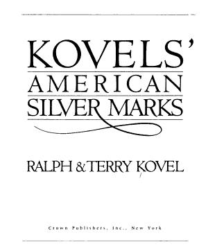Kovels  American Silver Marks