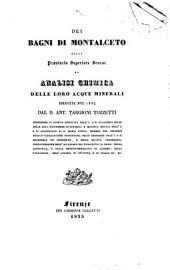 Dei bagni di Montalceto nella provincia superiore Senese: ed analisi chimica delle loro acque minerali