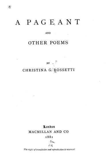 A Pageant  and Other Poems PDF