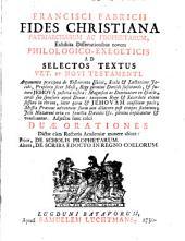 Fides christiana patriarcharum ac prophetarum, exhibita dissertationibus novem philologico-exegeticis ad selectos textus Veteris et Novi Testamenti