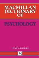Macmillan Dictionary of Psychology PDF
