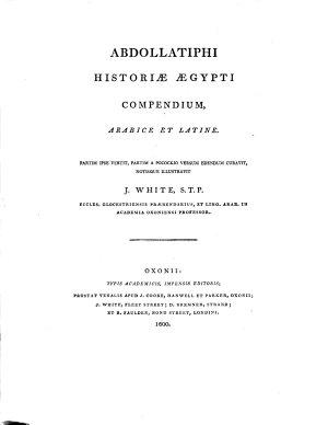 Abdollatiphi historiae Aegypti compendium  arabice et latine PDF