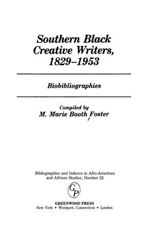 Southern Black Creative Writers, 1829-1953