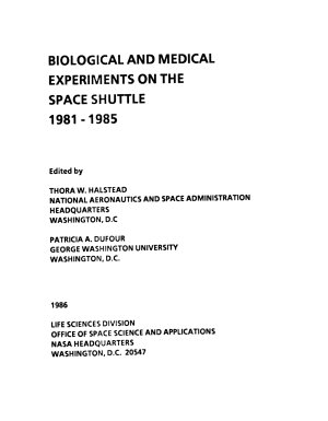 Biological and Medical Experiments on the Space Shuttle, 1981 - 1985