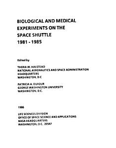 Biological and Medical Experiments on the Space Shuttle  1981   1985