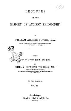 Lectures on the History of Ancient Philosophy William Archer Butler PDF