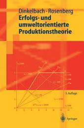 Erfolgs- und umweltorientierte Produktionstheorie: Ausgabe 5