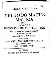 Diss. log. de methodo mathematica