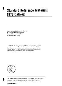 Standard Reference Materials  1973 Catalog PDF
